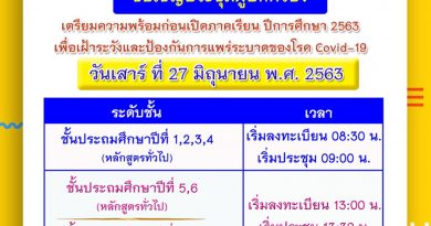 ขอเชิญประชุมผู้ปกครอง วันเสาร์ที่ 27 มิถุนายน 2563